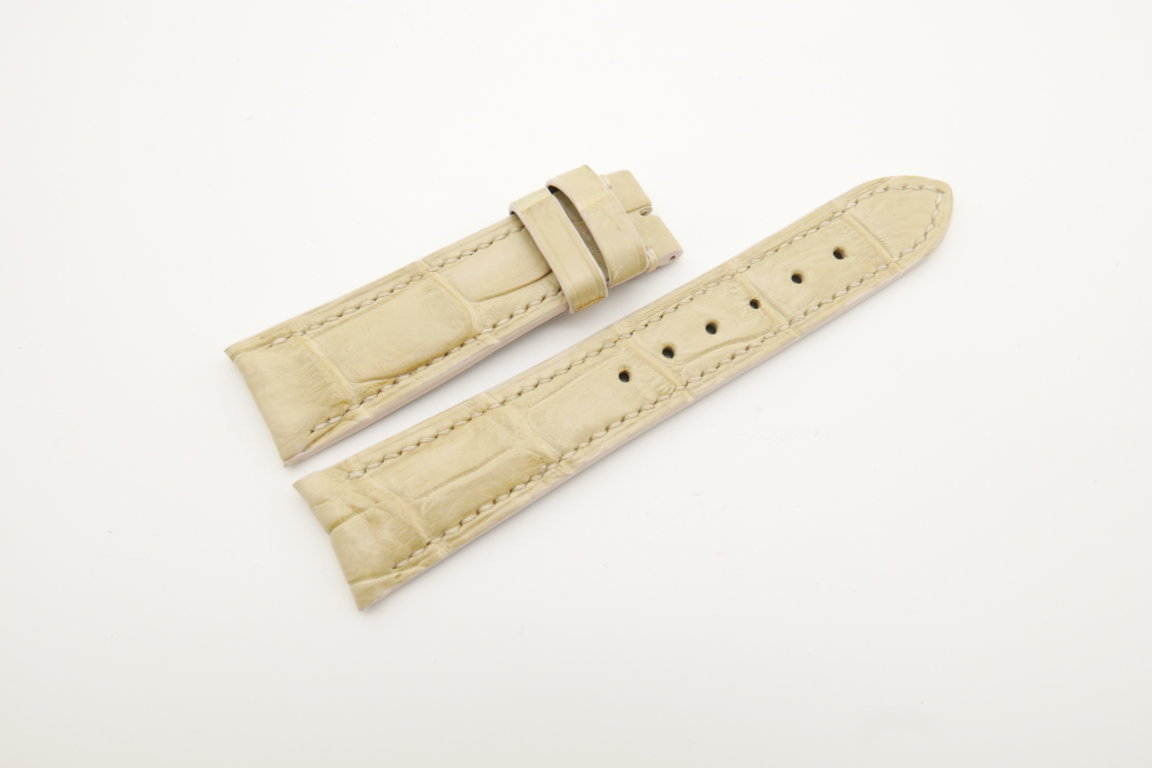 21mm/18mm Cream Genuine CROCODILE Skin Leather Curved End Watch Strap For JLC #WT4359