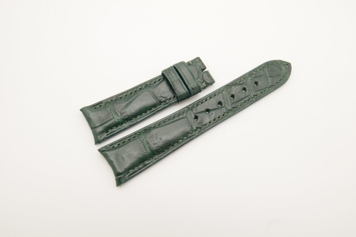 21mm/18mm Dark Green Genuine CROCODILE Skin Leather Curved End Watch Strap For JLC #WT4368