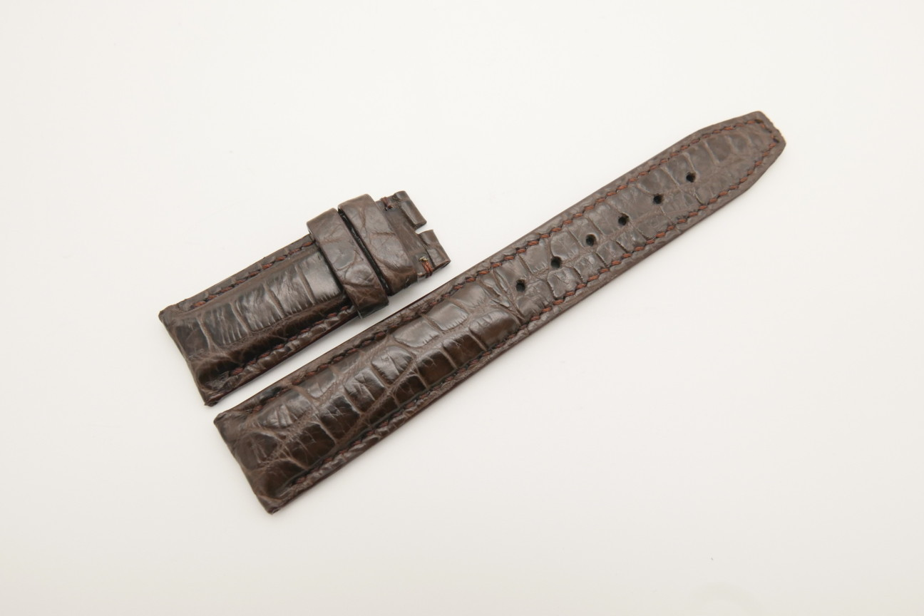 20mm/18mm Dark Brown Genuine CROCODILE Skin Leather Deployment Strap For IWC #WT4382