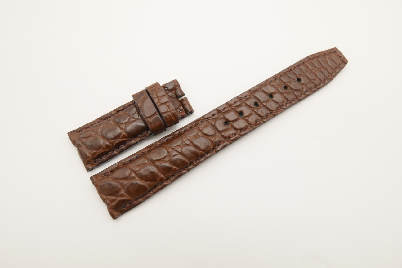20mm/18mm Brown Genuine CROCODILE Skin Leather Deployment Strap For IWC #WT4384