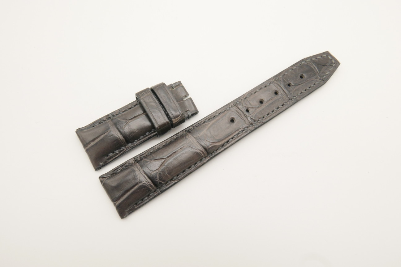 20mm/18mm Dark Gray Genuine CROCODILE Skin Leather Deployment Strap For IWC #WT4389