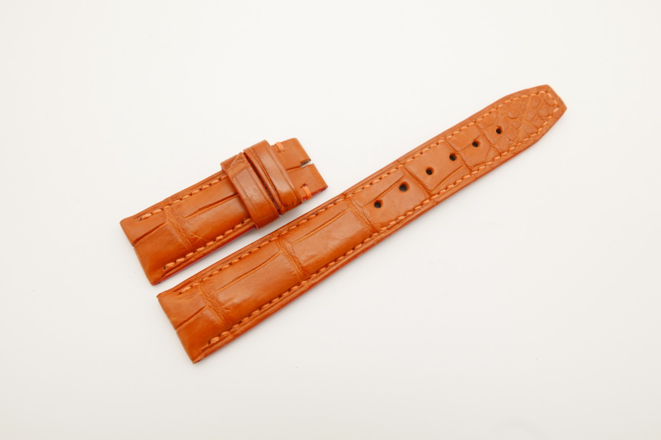 20mm/18mm Orange Genuine CROCODILE Skin Leather Deployment Strap For IWC #WT4391