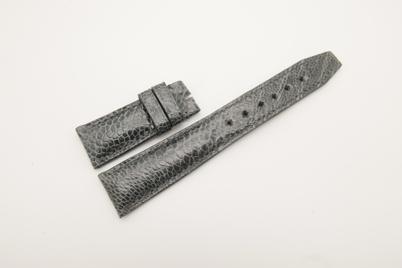 21mm/18mm Gray Genuine OSTRICH Skin Leather Deployment Strap for IWC #WT4404