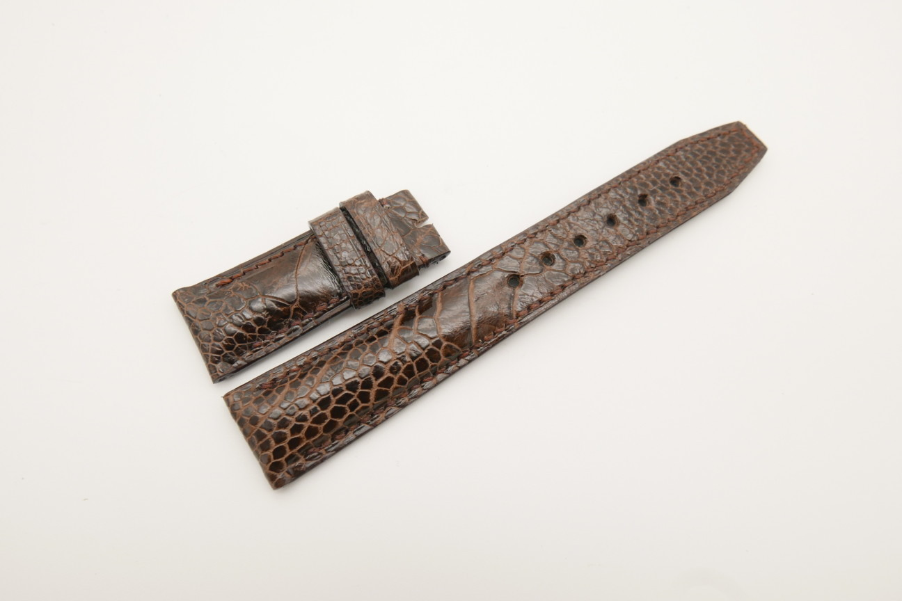 21mm/18mm Dark Brown Genuine OSTRICH Skin Leather Deployment Strap for IWC #WT4407