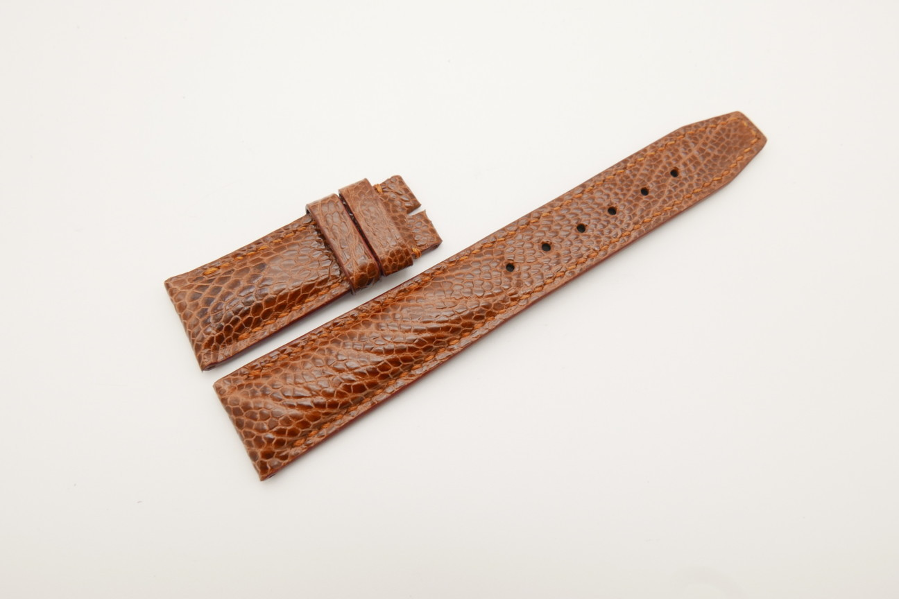 21mm/18mm Red Brown Genuine OSTRICH Skin Leather Deployment Strap for IWC #WT4409