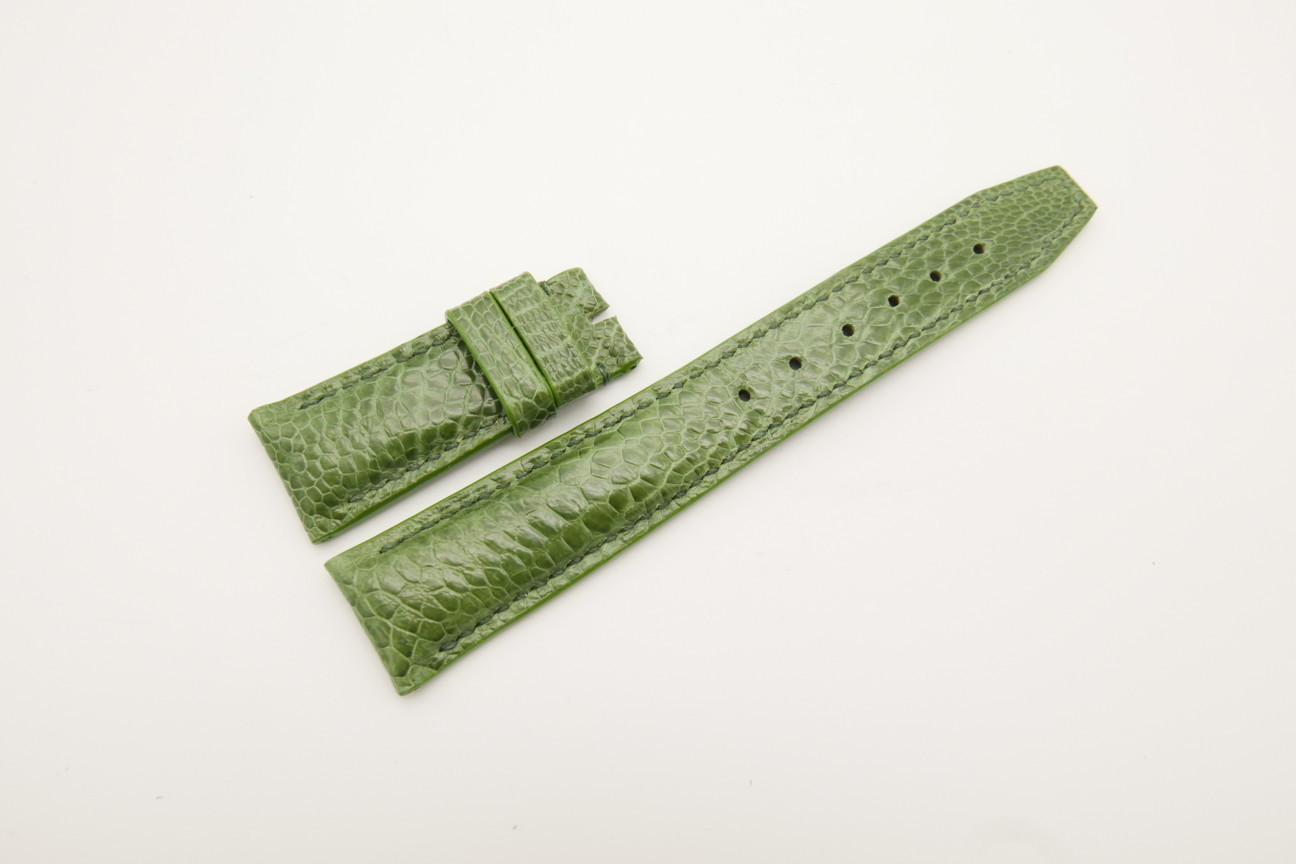 21mm/18mm Green Genuine OSTRICH Skin Leather Deployment Strap for IWC #WT4412