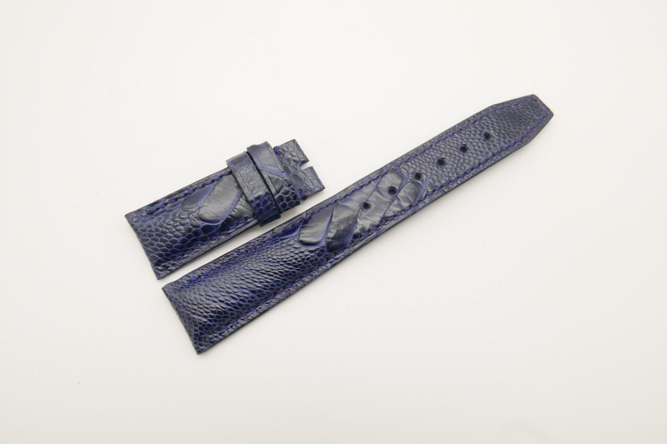 21mm/18mm Dark Navy Blue Genuine OSTRICH Skin Leather Deployment Strap for IWC #WT4413