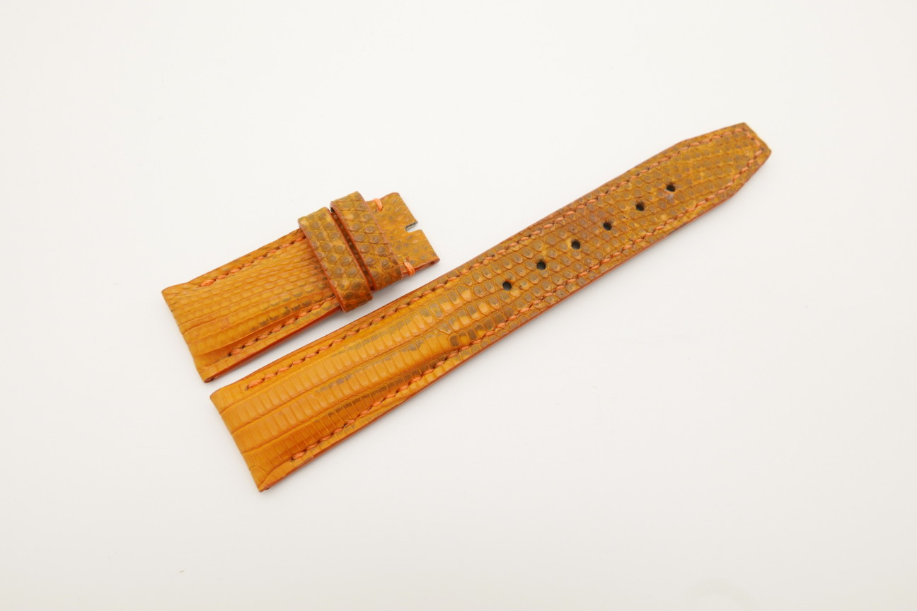 21mm/18mm Orange Genuine LIZARD Skin Leather Deployment Strap for IWC #WT4424