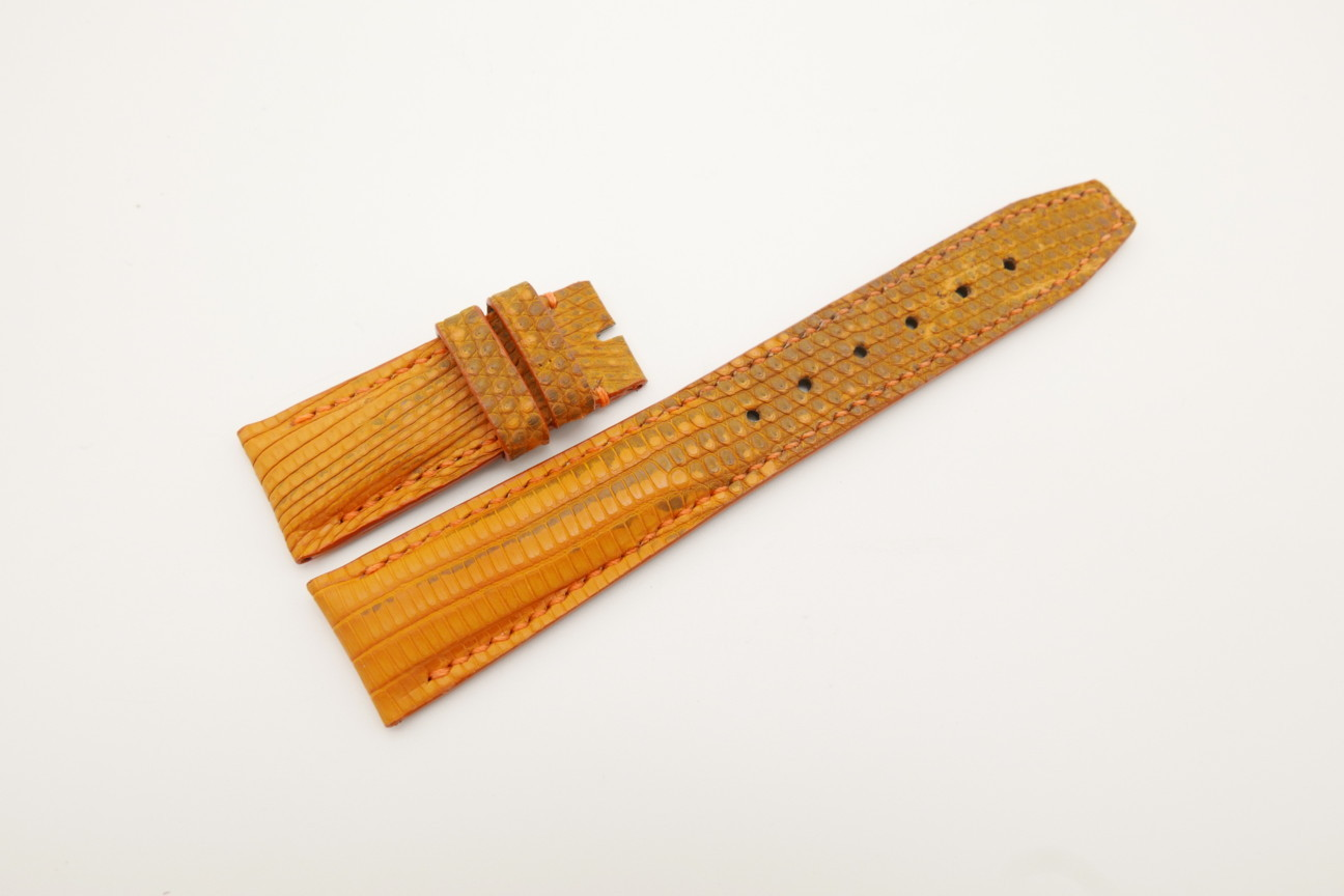 21mm/18mm Orange Genuine LIZARD Skin Leather Deployment Strap for IWC #WT4425