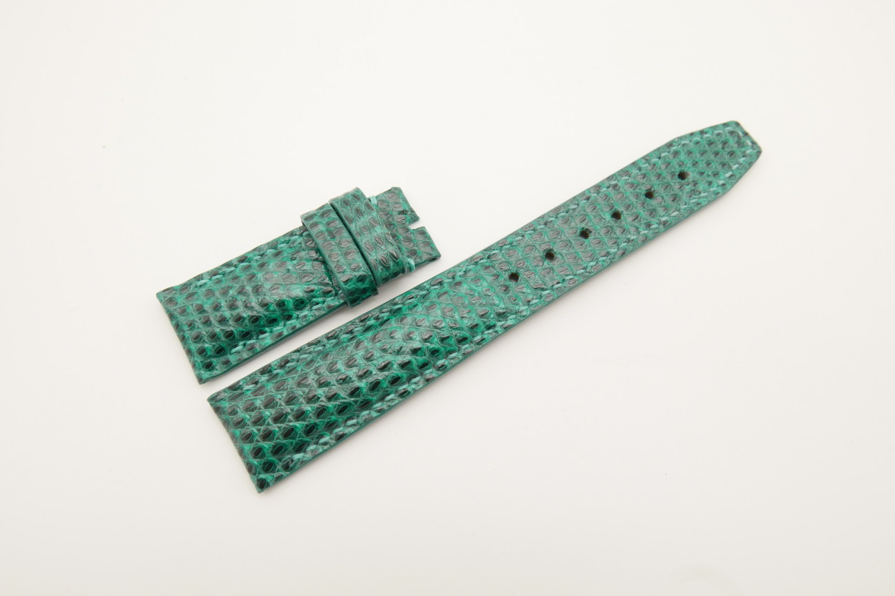 21mm/18mm Jade Green Genuine LIZARD Skin Leather Deployment Strap for IWC #WT4427
