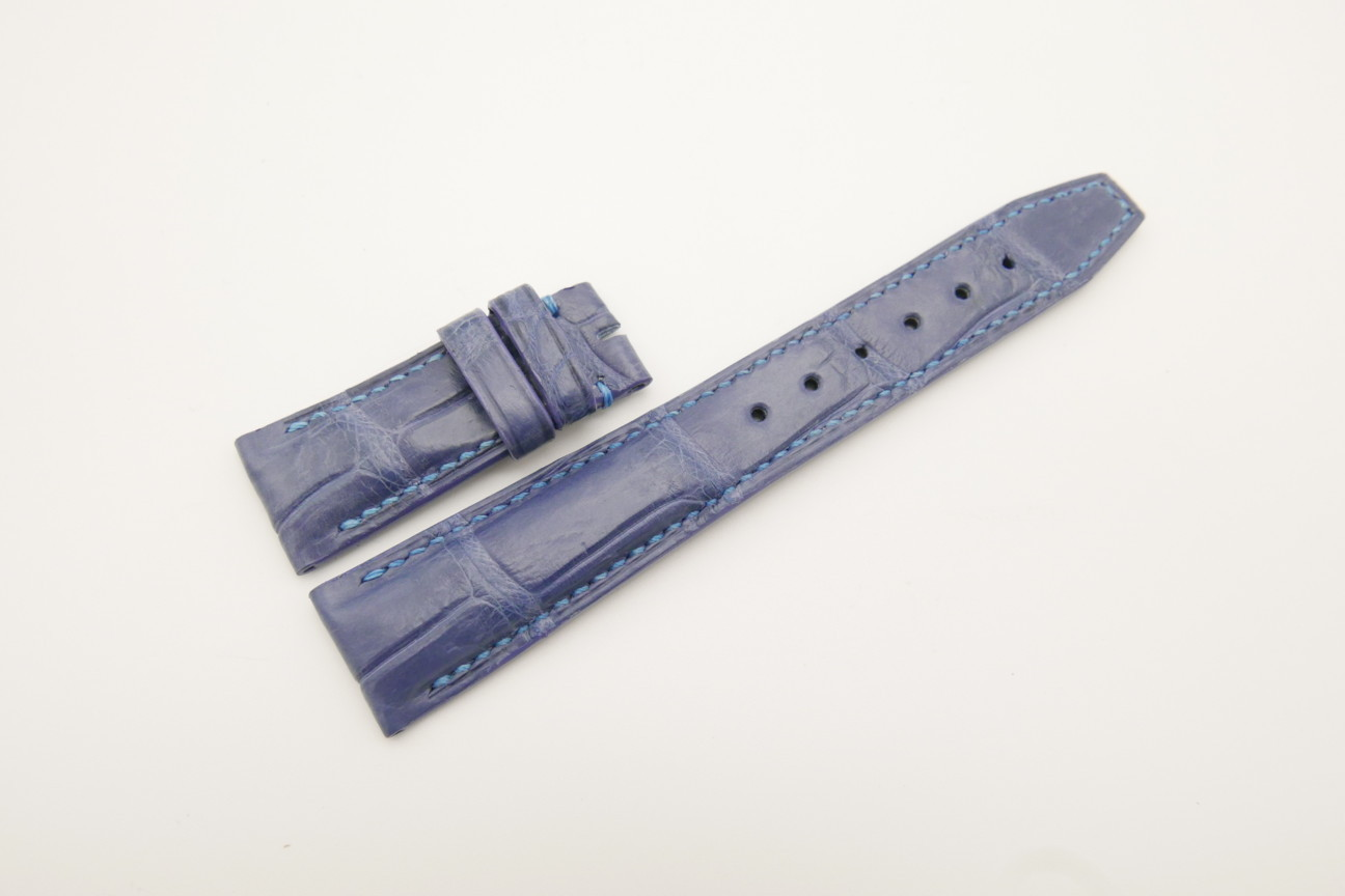 21mm/18mm Navy Blue Genuine CROCODILE Skin Leather Deployment Strap for IWC #WT4430