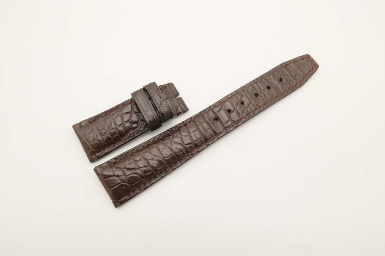 21mm/18mm Dark Brown Genuine CROCODILE Skin Leather Deployment Strap for IWC #WT4432