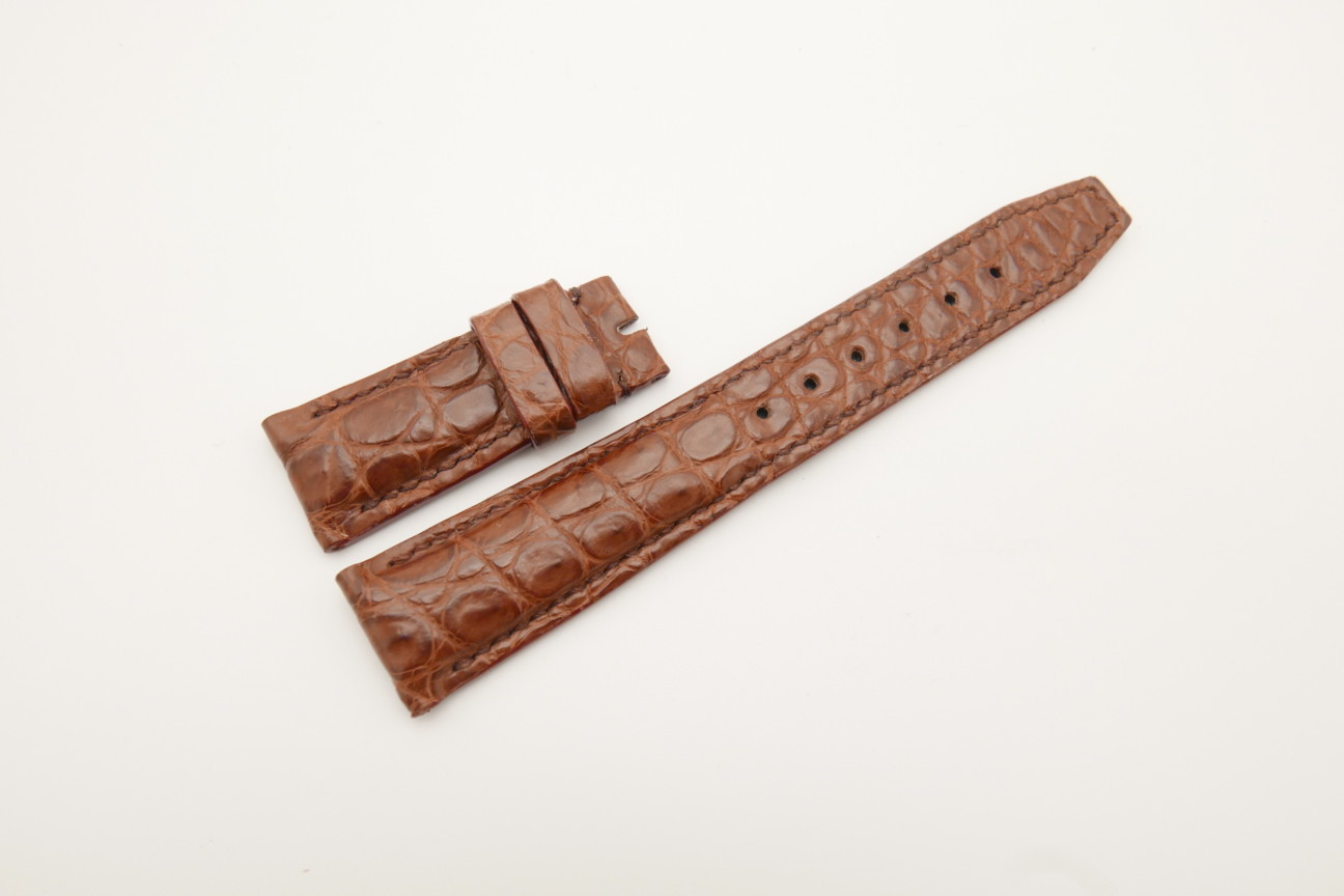 21mm/18mm Red Brown Genuine CROCODILE Skin Leather Deployment Strap for IWC #WT4436