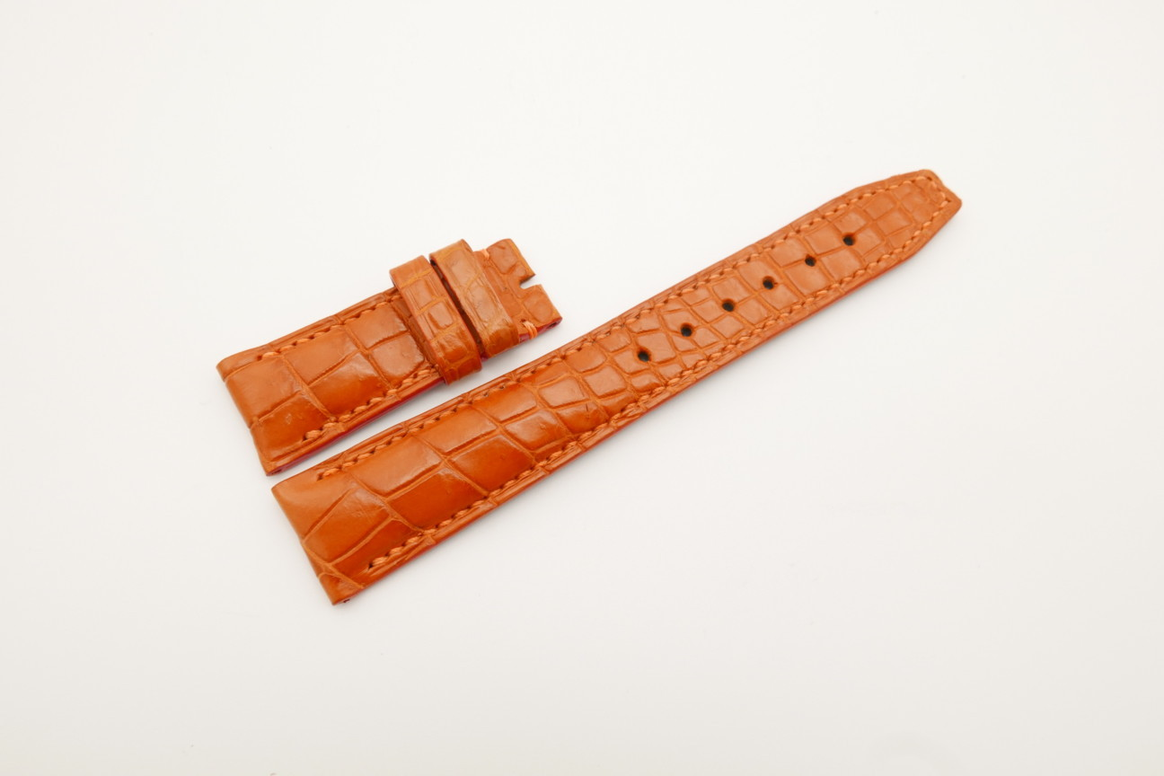 21mm/18mm Orange Genuine CROCODILE Skin Leather Deployment Strap for IWC #WT4437