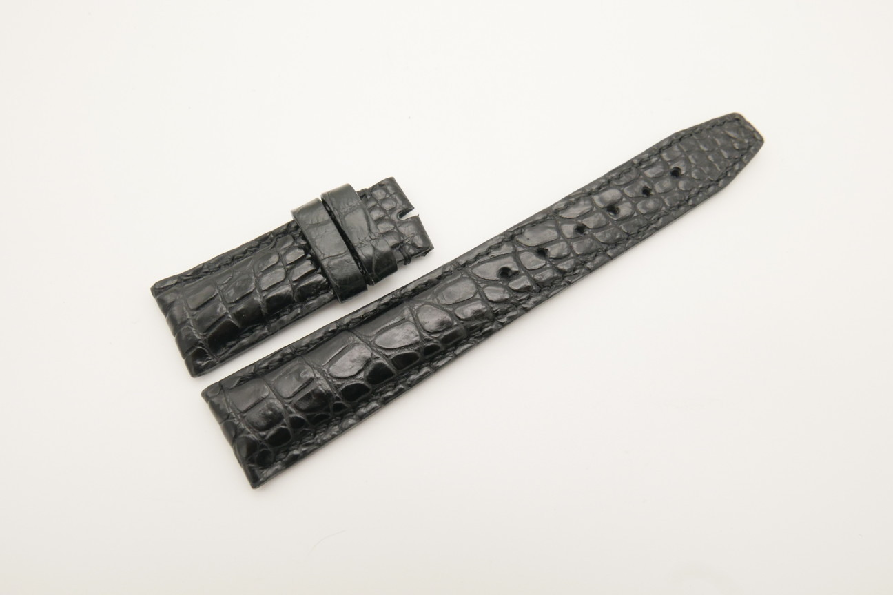 21mm/18mm Black Genuine CROCODILE Skin Leather Deployment Strap for IWC #WT4440