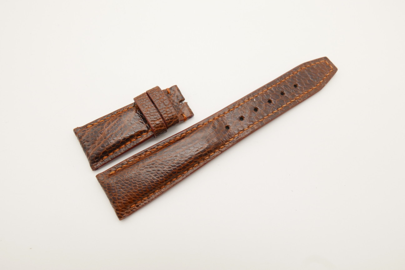 22mm/18mm Red Brown Genuine OSTRICH Skin Leather Deployment Strap for IWC #WT4444