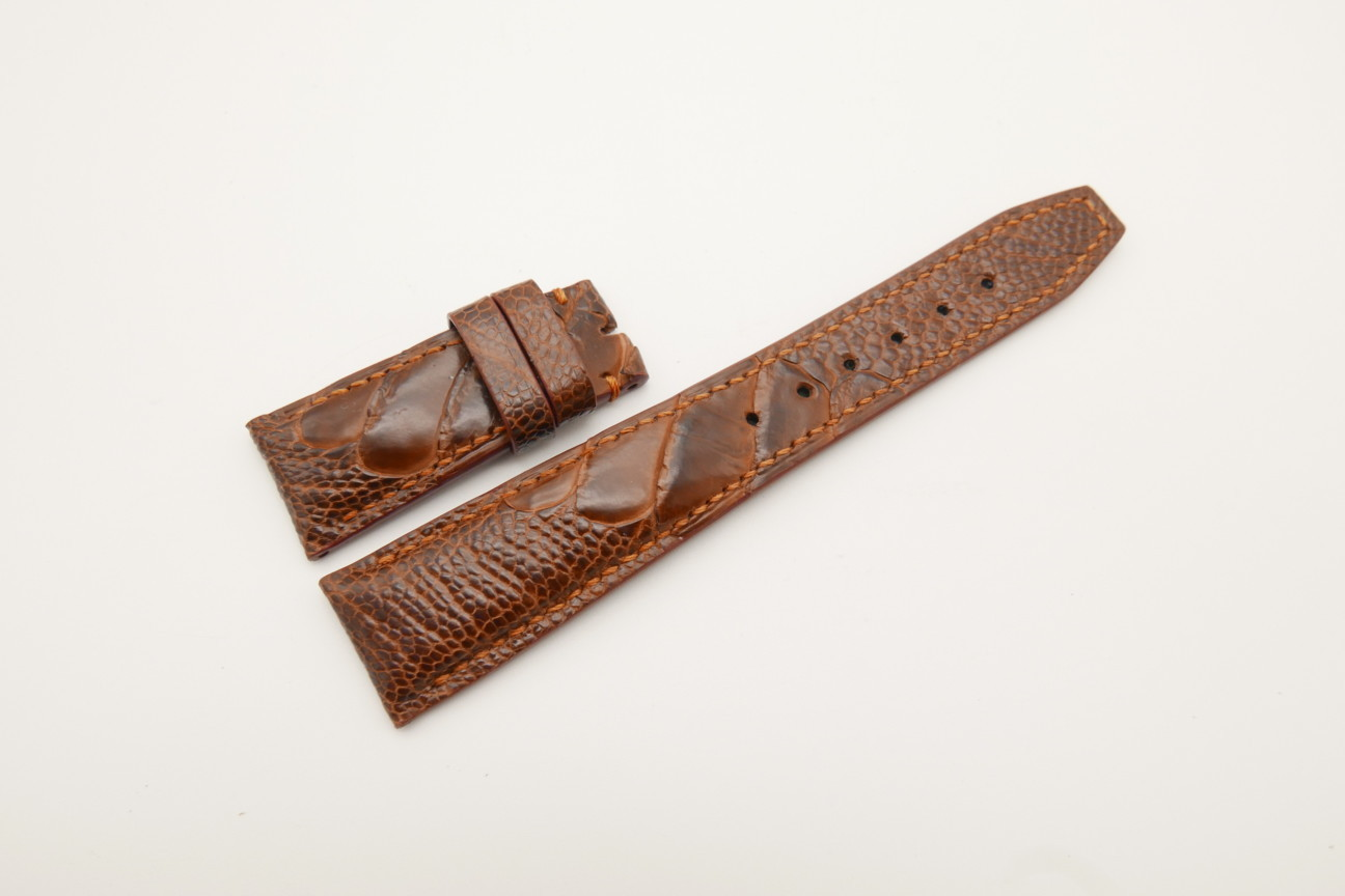 22mm/18mm Red Brown Genuine OSTRICH Skin Leather Deployment Strap for IWC #WT4445