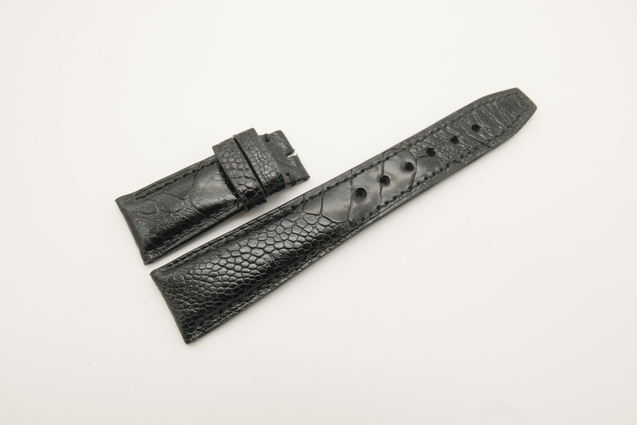 22mm/18mm Black Genuine OSTRICH Skin Leather Deployment Strap for IWC #WT4450