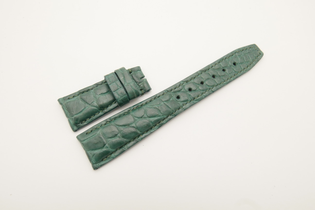 22mm/18mm Green Genuine Crocodile Skin Leather Deployment Strap for IWC #WT4465