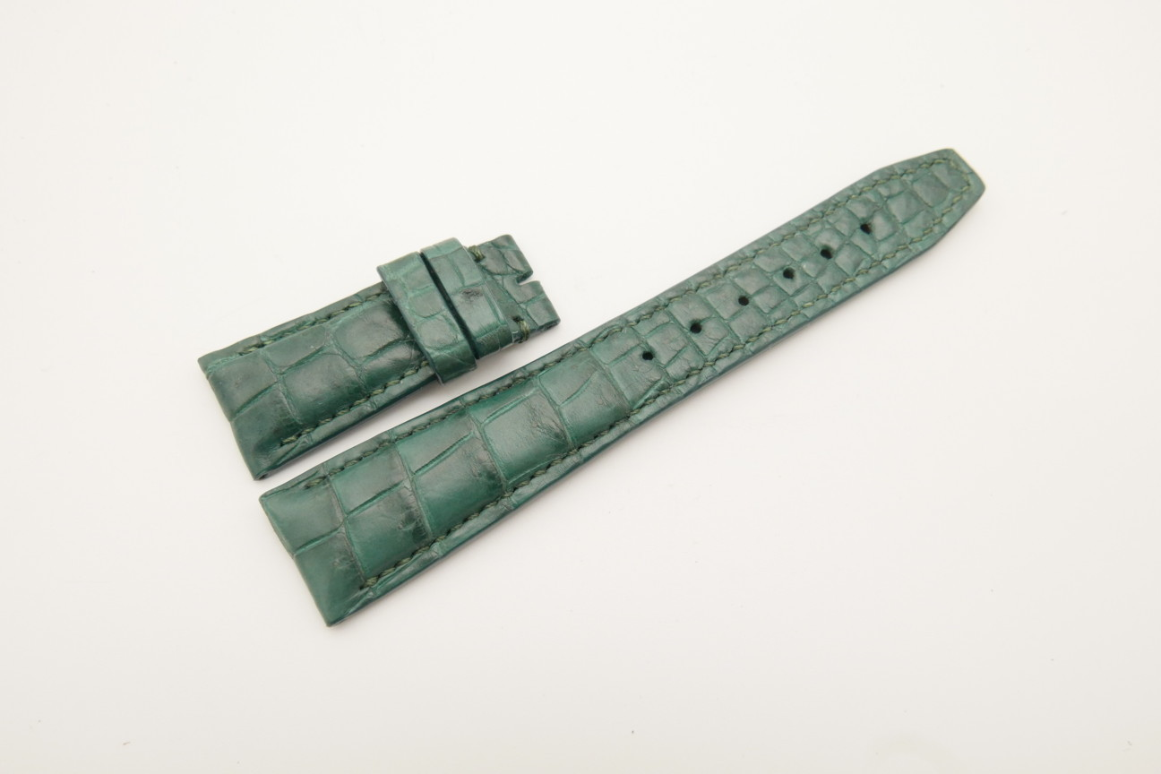 22mm/18mm Green Genuine Crocodile Skin Leather Deployment Strap for IWC #WT4466