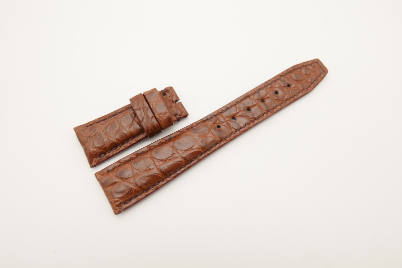 22mm/18mm Red Brown Genuine Crocodile Skin Leather Deployment Strap for IWC #WT4467