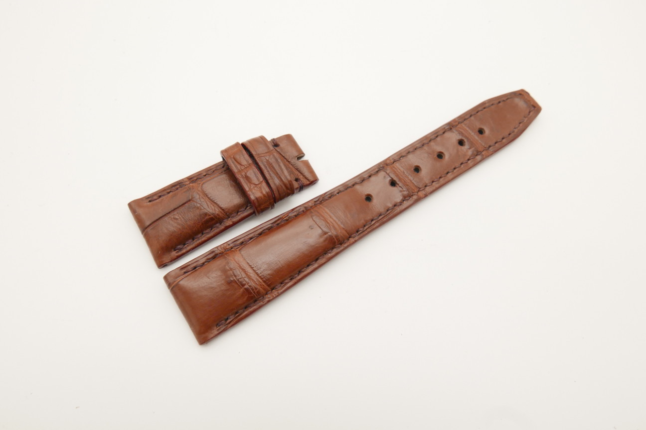 22mm/18mm Red Brown Genuine Crocodile Skin Leather Deployment Strap for IWC #WT4468