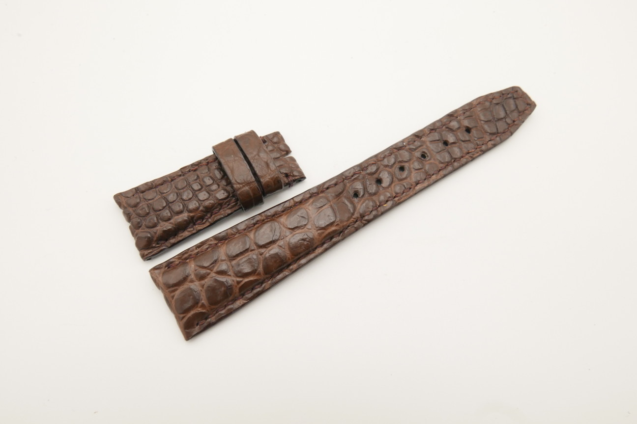 22mm/18mm Dark Brown Genuine Crocodile Skin Leather Deployment Strap for IWC #WT4469