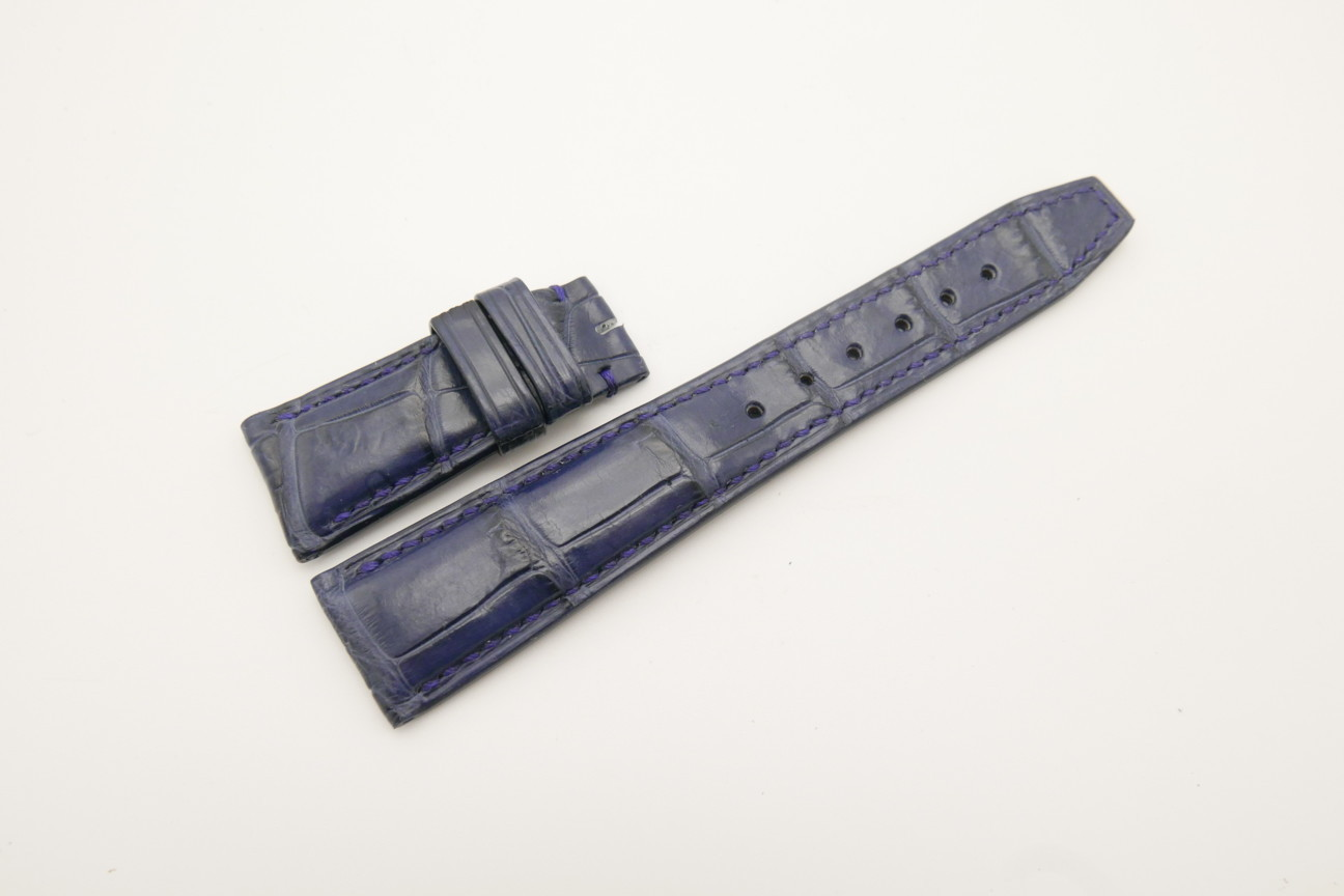 22mm/18mm Dark Navy Blue Genuine Crocodile Skin Leather Deployment Strap for IWC #WT4471