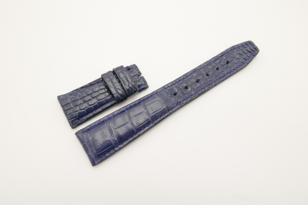 22mm/18mm Dark Navy Blue Genuine Crocodile Skin Leather Deployment Strap for IWC #WT4472
