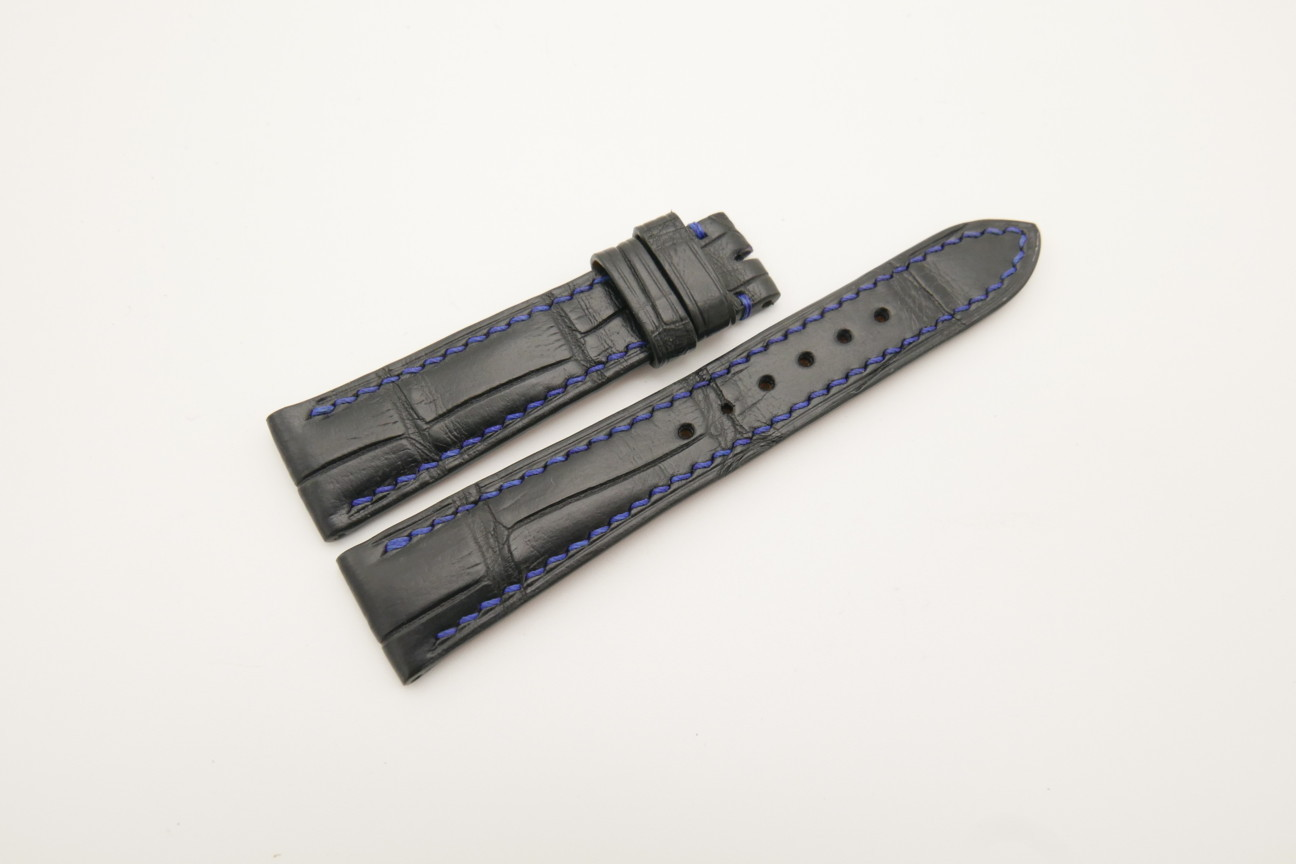 19mm/16mm Black Genuine ALLIGATOR Skin Leather Watch Strap #WT4478