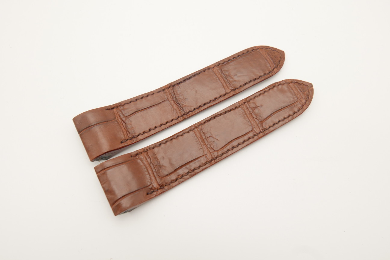 23mm Red Brown Genuine Crocodile Skin Leather Deployment Strap for Cartier Santos #WT4482