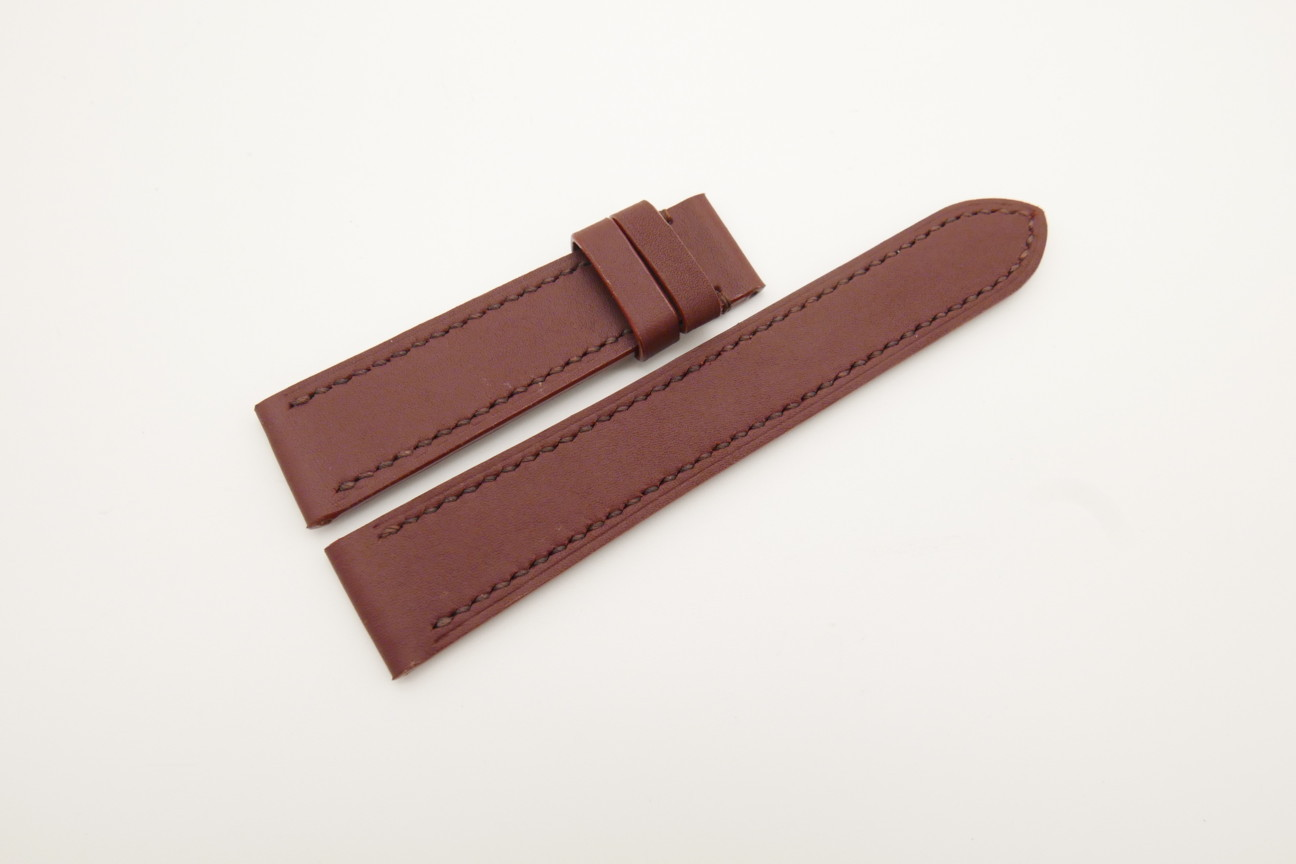 20mm/18mm Red Prune Genuine SOMBRERO CALF Skin Leather Watch Strap #WT4485