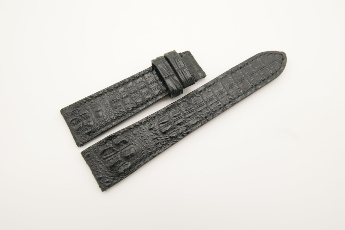 21mm/18mm Black Genuine Baby HORNBACK CROCODILE Skin Leather Watch Strap #WT4522