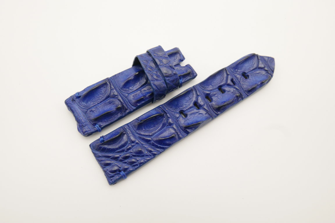 24mm/22mm Dark Blue Genuine HORNBACK CROCODILE Skin Leather Watch Strap for Panerai #WT4533