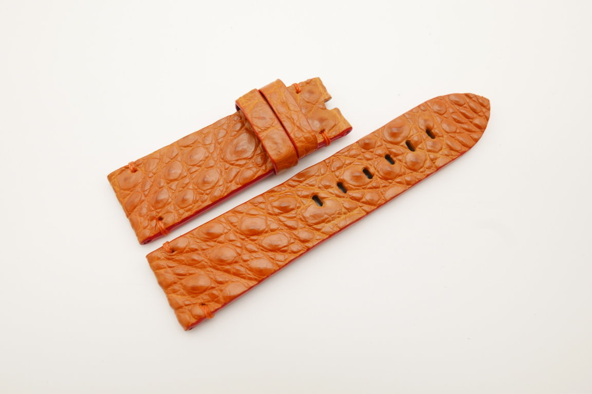 24mm/22mm Orange Genuine HORNBACK CROCODILE Skin Leather Watch Strap for Panerai #WT4541