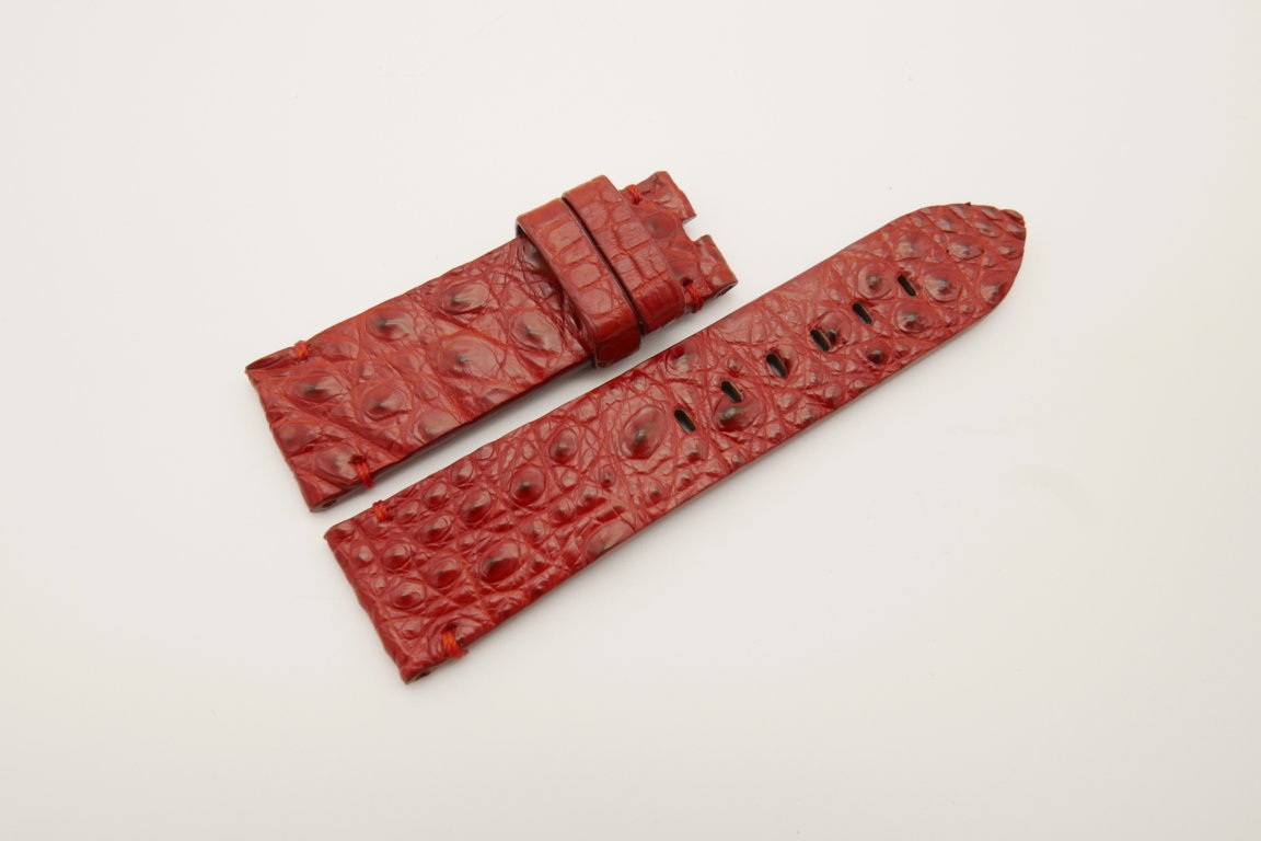 24mm/22mm Red Genuine HORNBACK CROCODILE Skin Leather Watch Strap for Panerai #WT4550