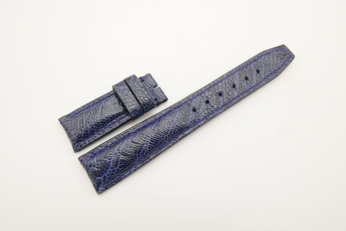 20mm/18mm Dark Navy Blue Genuine Ostrich Skin Leather Deployment Strap for IWC #WT4491
