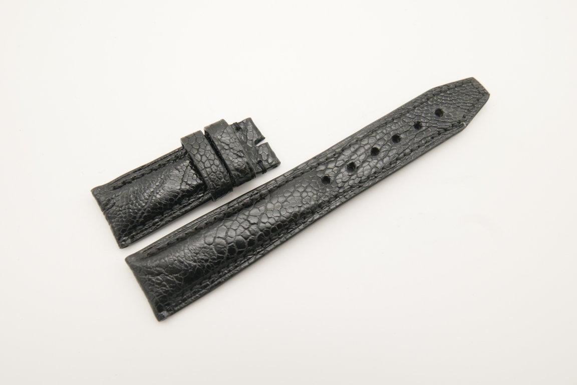 20mm/18mm Black Genuine Ostrich Skin Leather Deployment Strap for IWC #WT4493