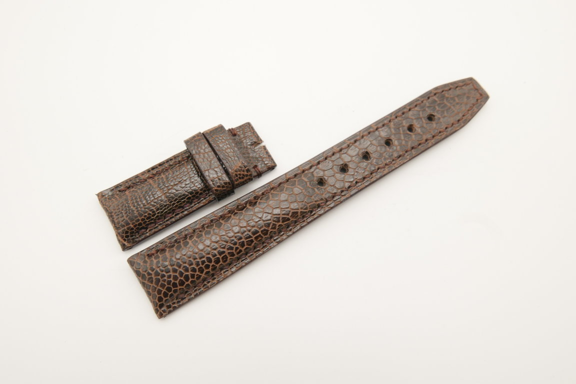 20mm/18mm Dark Brown Genuine Ostrich Skin Leather Deployment Strap for IWC #WT4495