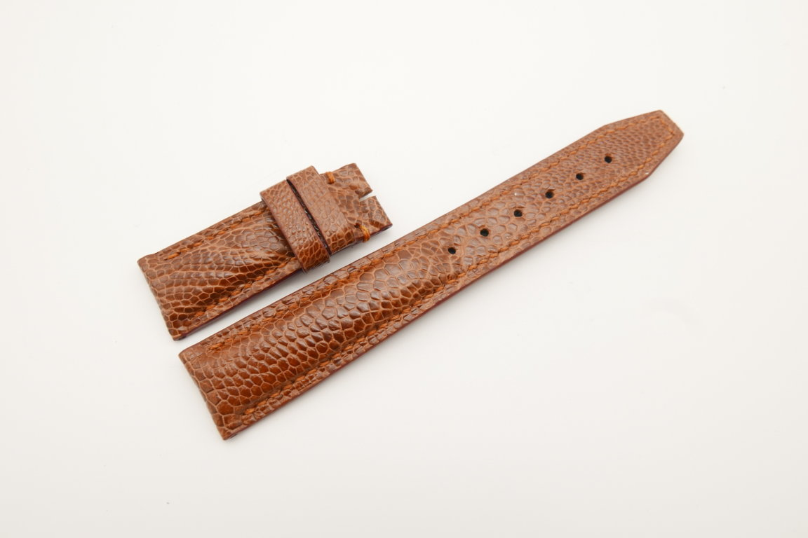 20mm/18mm Red Brown Genuine Ostrich Skin Leather Deployment Strap for IWC #WT4497