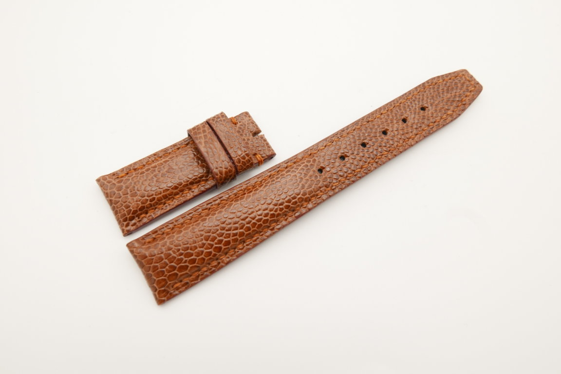 20mm/18mm Red Brown Genuine Ostrich Skin Leather Deployment Strap for IWC #WT4498