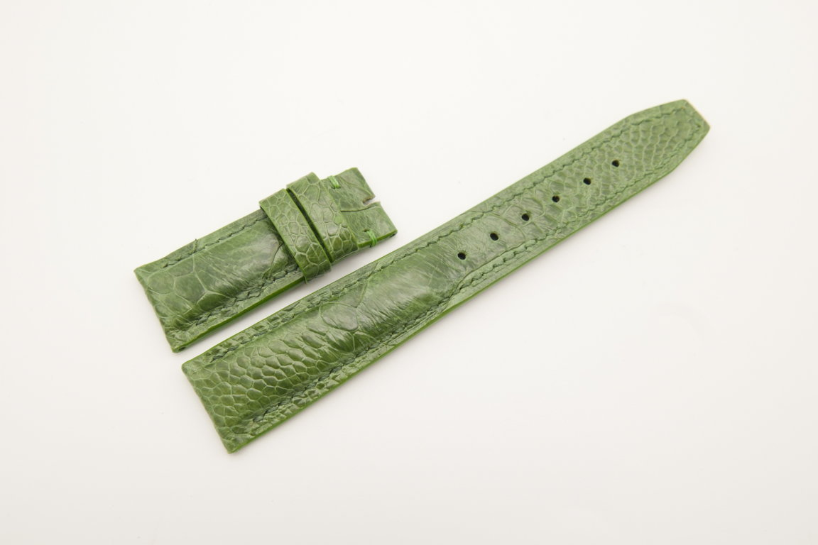 20mm/18mm Green Genuine Ostrich Skin Leather Deployment Strap for IWC #WT4499