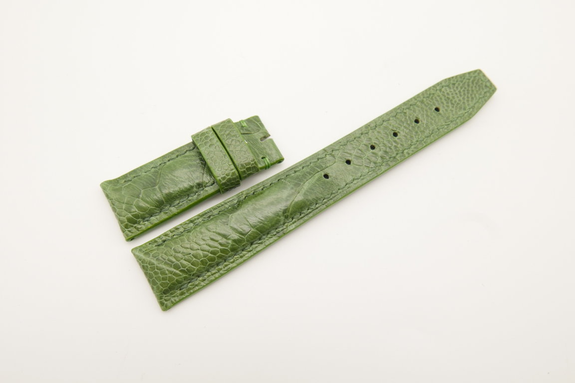 20mm/18mm Green Genuine Ostrich Skin Leather Deployment Strap for IWC #WT4500