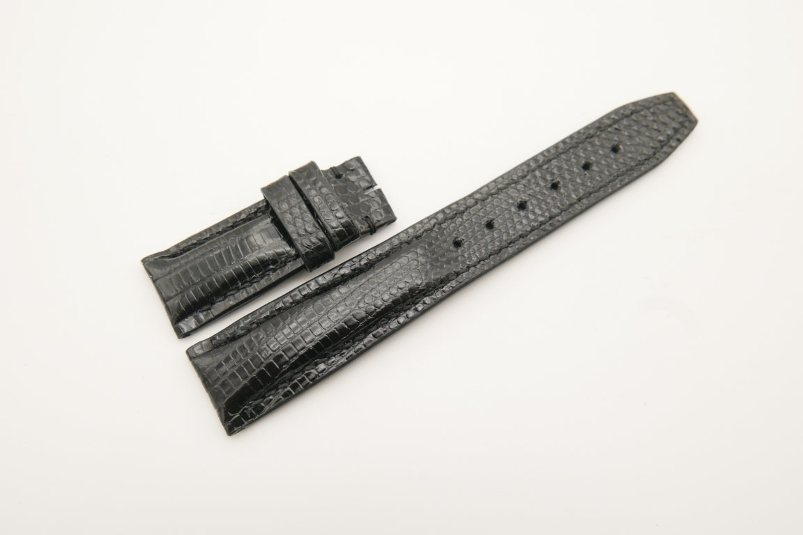 20mm/18mm Black Genuine Lizard Skin Leather Deployment Strap for IWC #WT4503