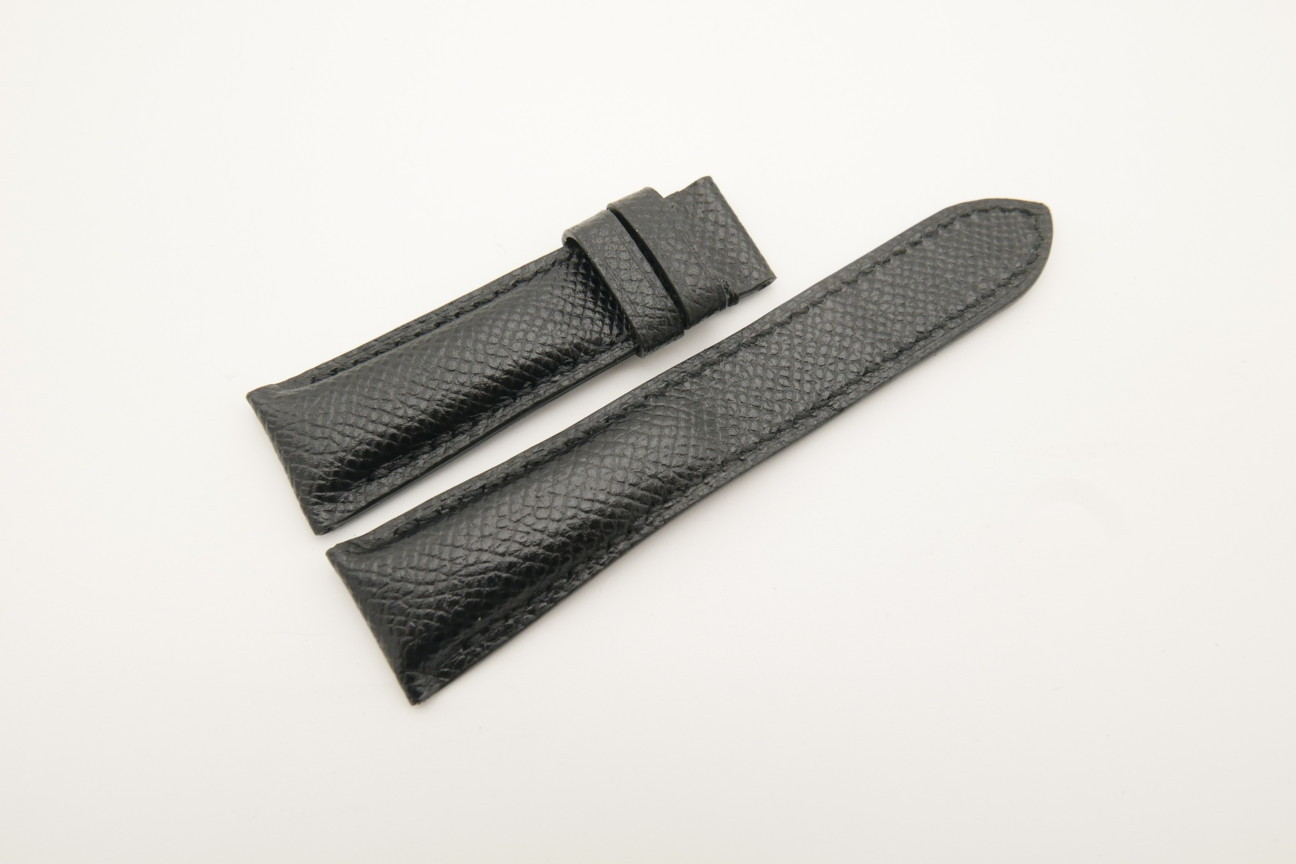 21mm/18mm Black Genuine EPSOM CALF Skin Leather Watch Strap #WT4570