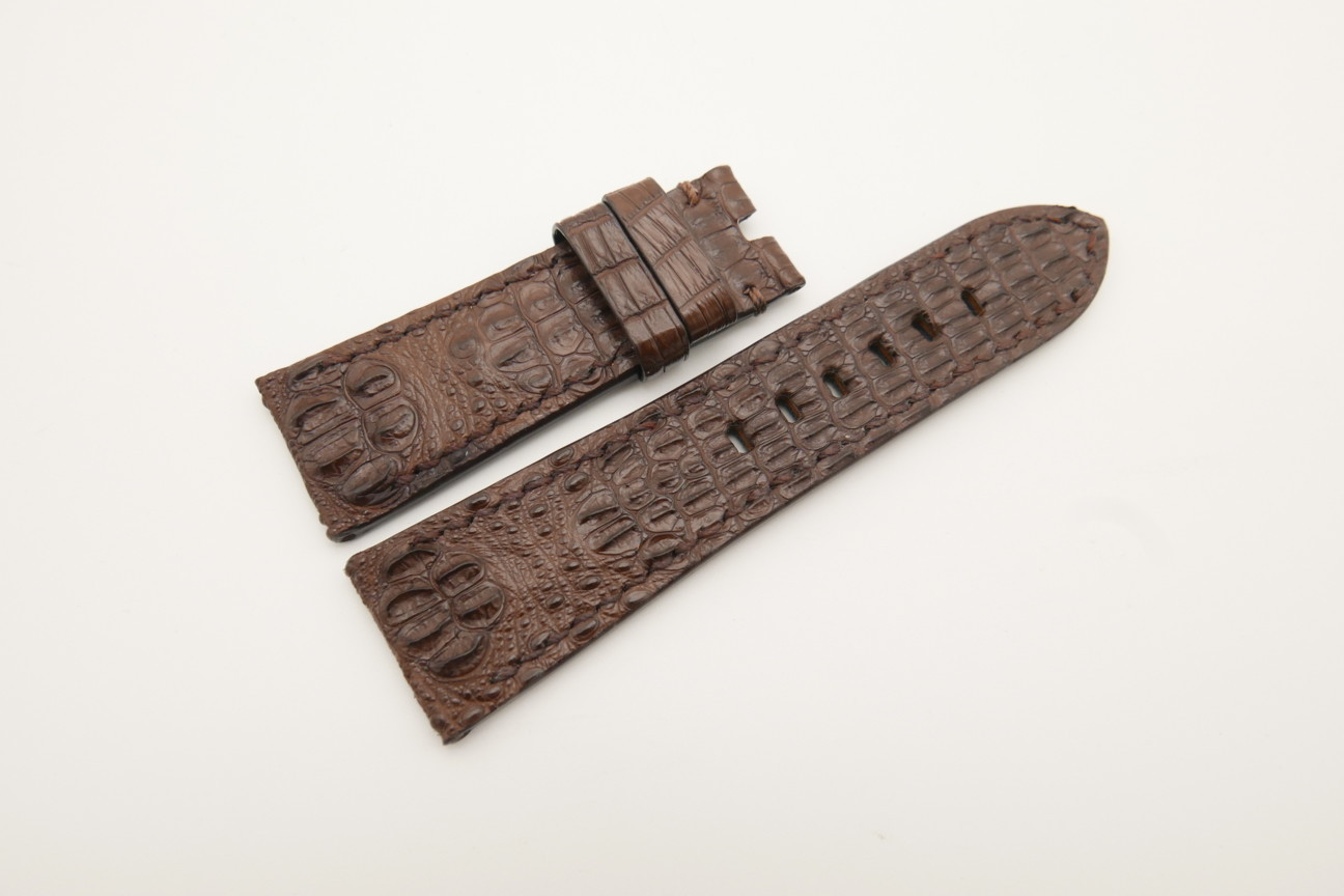 26mm/22mm Brown Genuine HORNBACK CROCODILE Skin Leather Watch Strap for Panerai #WT4581