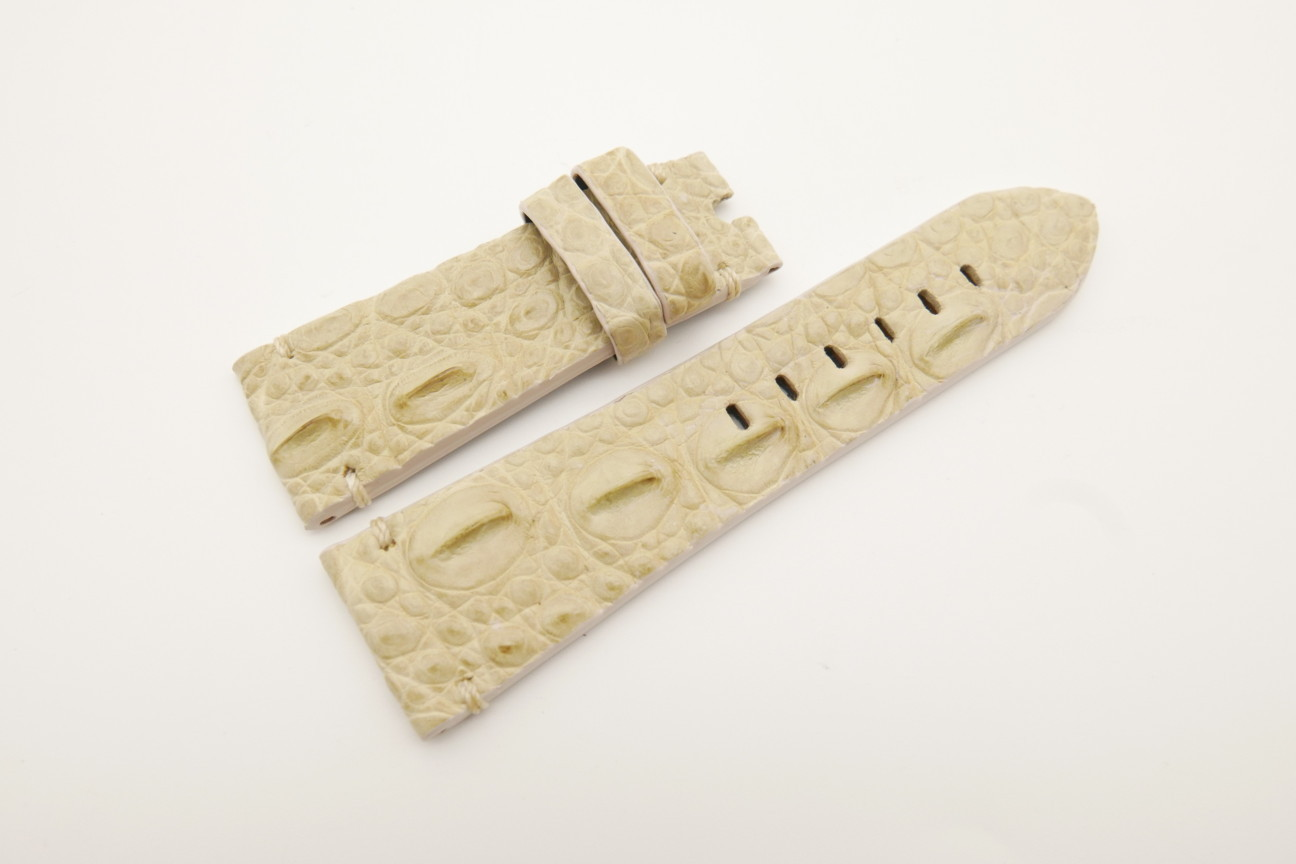 26mm/22mm Beige Genuine HORNBACK CROCODILE Skin Leather Watch Strap for Panerai #WT4583