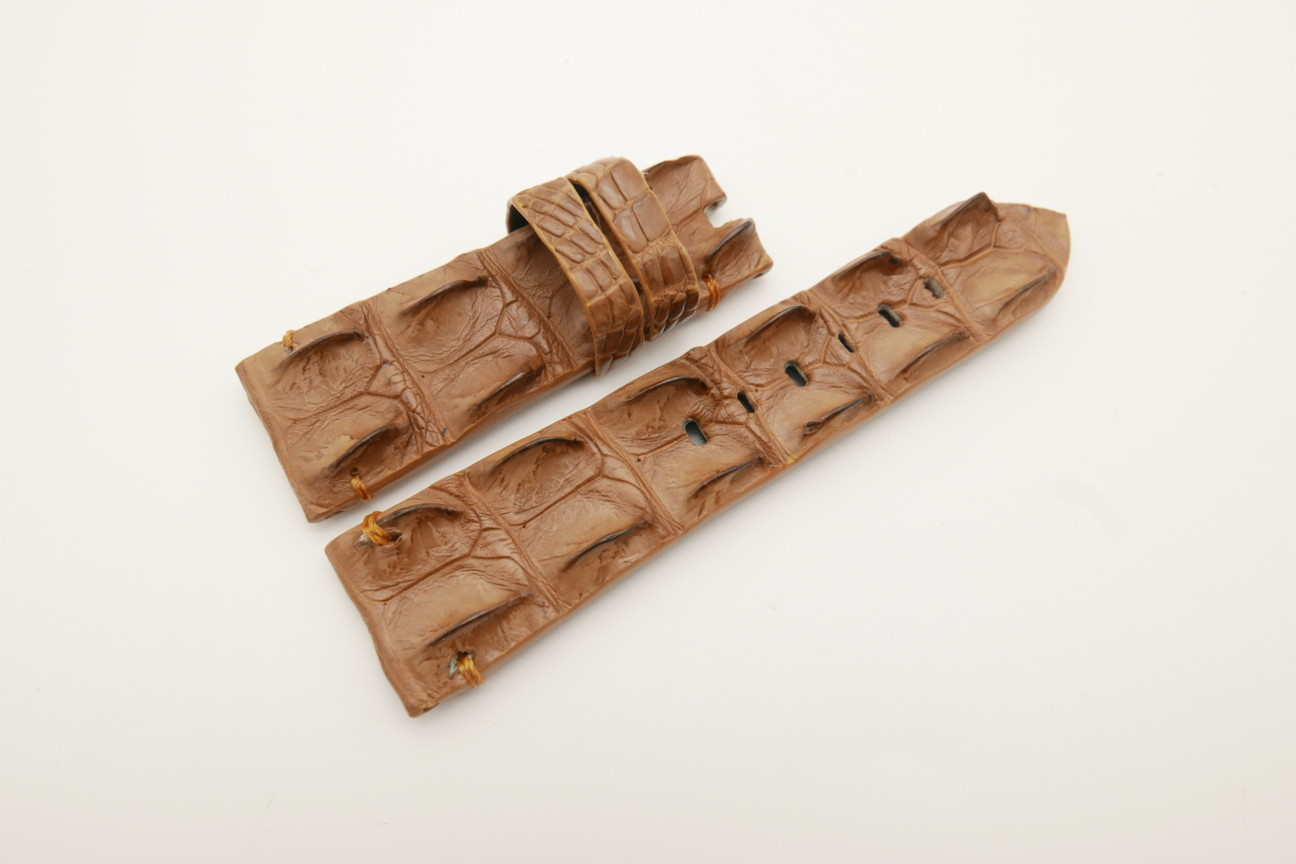 26mm/22mm Light Brown Genuine HORNBACK CROCODILE Skin Leather Watch Strap for Panerai #WT4588
