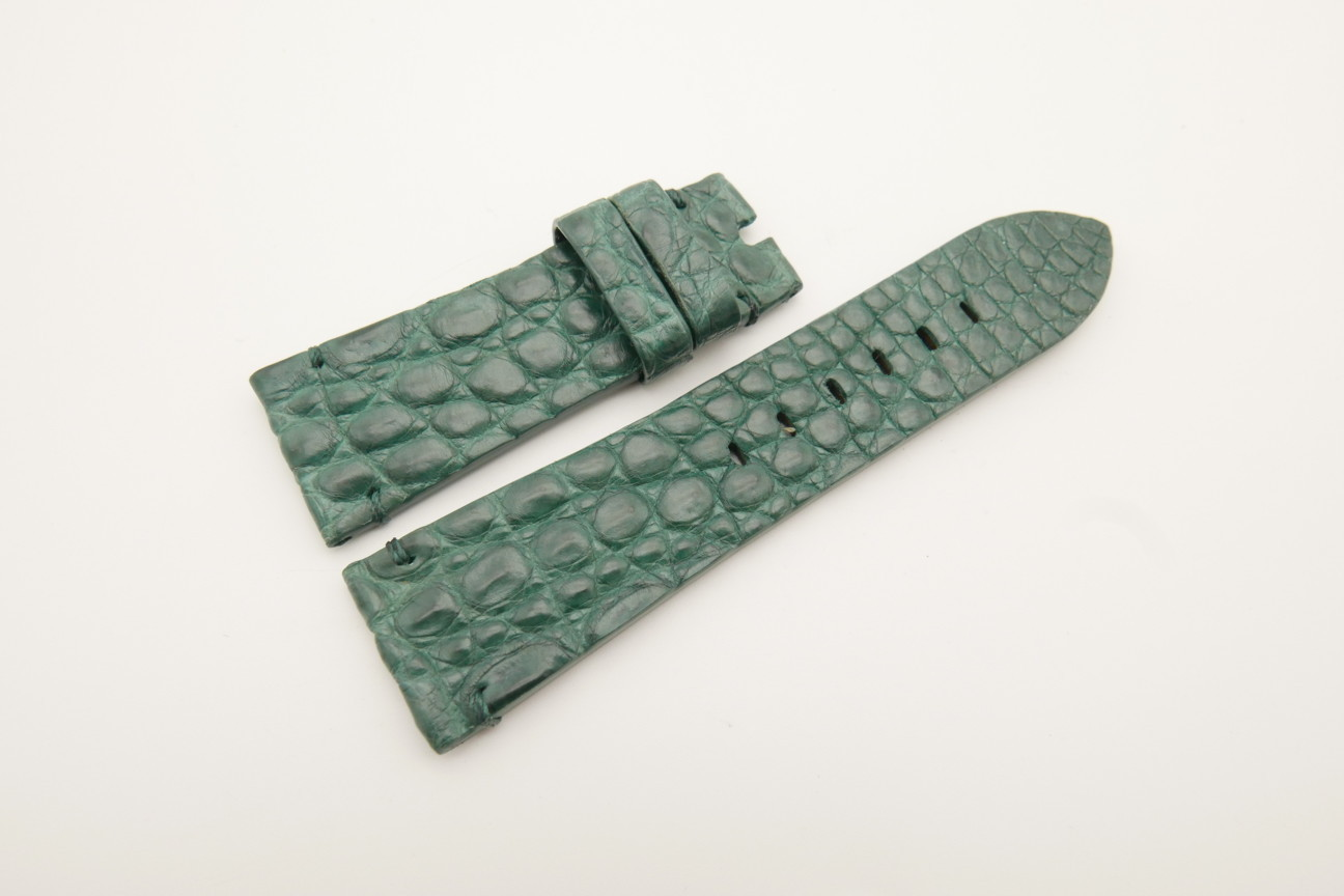 26mm/22mm Green Genuine HORNBACK CROCODILE Skin Leather Watch Strap for Panerai #WT4591