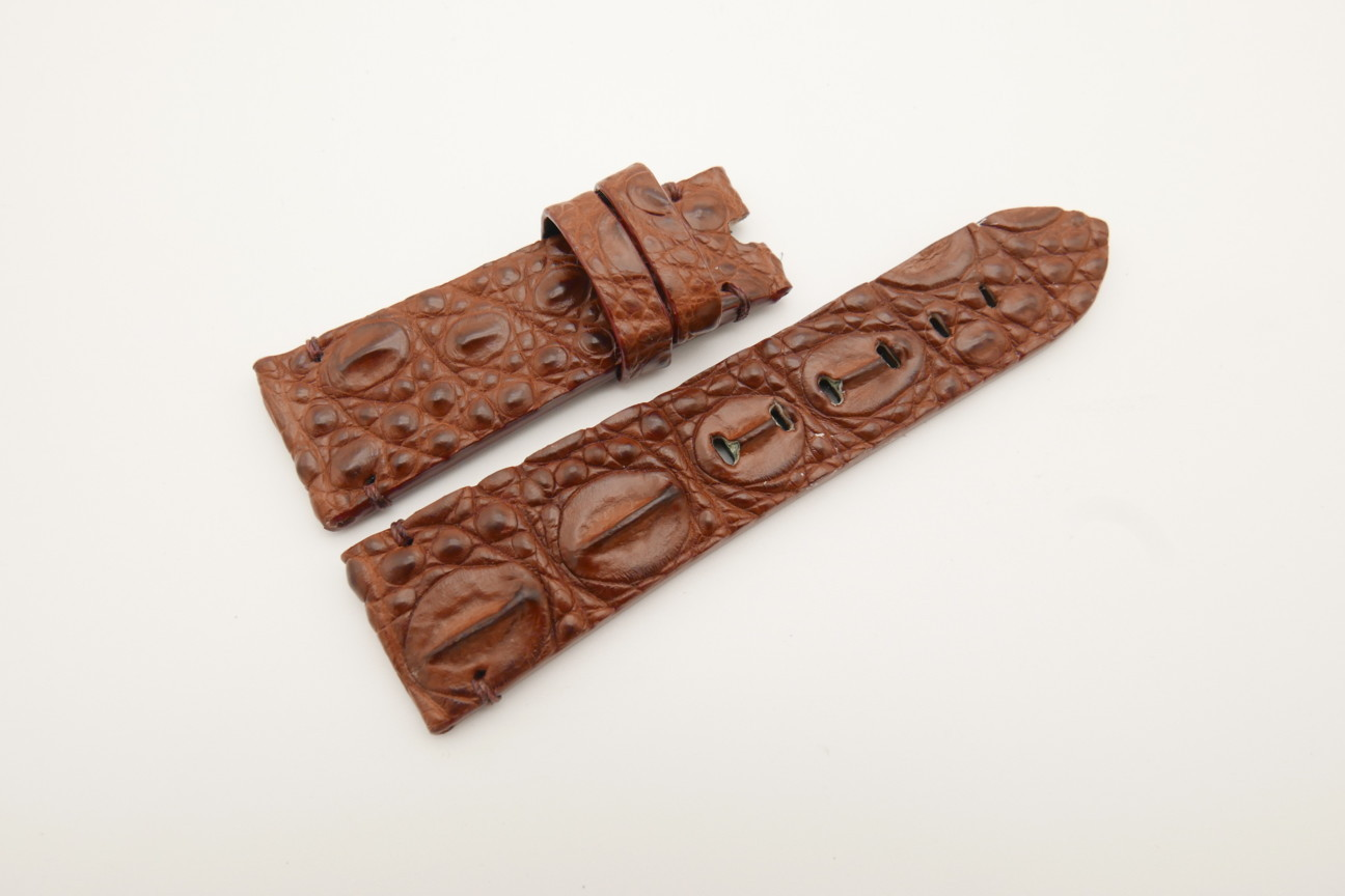 26mm/22mm Red Brown Genuine HORNBACK CROCODILE Skin Leather Watch Strap for Panerai #WT4598